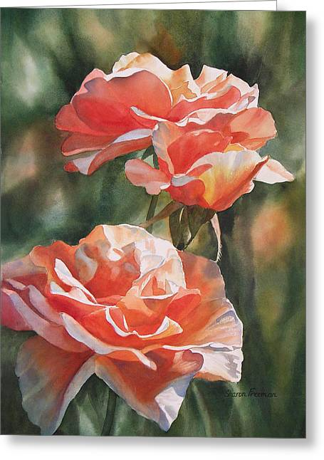 Floral Art Paintings Greeting Cards - Salmon Colored Roses Greeting Card by Sharon Freeman