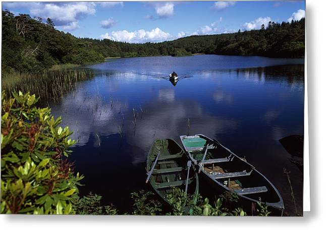 Boats In Reflecting Water Photographs Greeting Cards - Salmon Fishing, Ballinahinch Greeting Card by The Irish Image Collection
