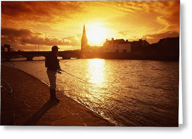 Connaught Greeting Cards - Salmon Fishing, Ridgepool, Ballina, Co Greeting Card by The Irish Image Collection