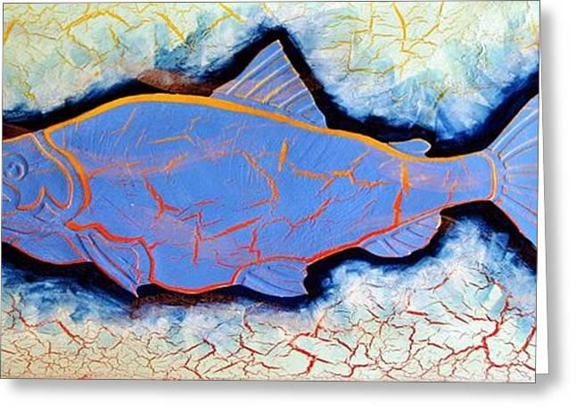 Salmon Mixed Media Greeting Cards - Salmon Light BLue Greeting Card by Dodd Holsapple