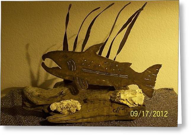 Salmon Sculptures Greeting Cards - Salmon on Driftwood Greeting Card by JP Giarde