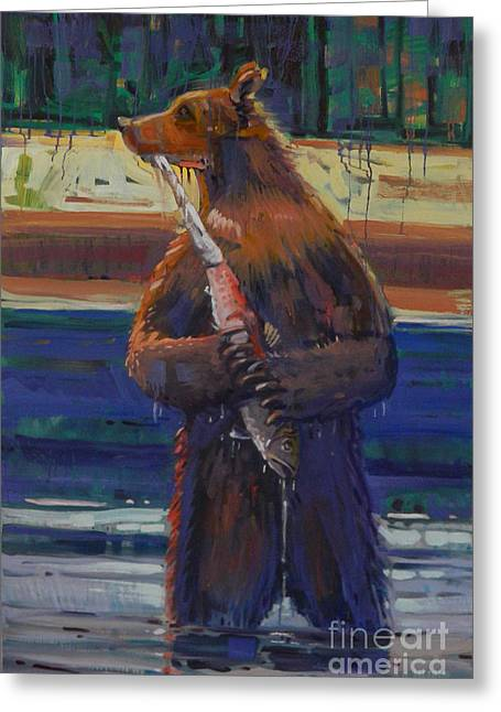 Salmon Paintings Greeting Cards - Salmon Run Greeting Card by Donald Maier