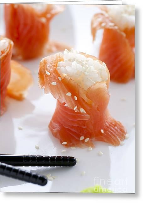 Wasabi Greeting Cards - Salmon Sushi Greeting Card by Charlotte Lake