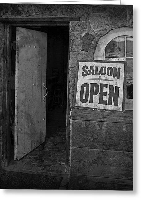 Saloons Greeting Cards - Saloon Open Greeting Card by John Stephens