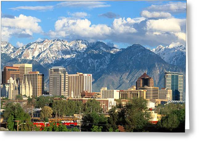 Office Real Estate Greeting Cards - Salt Lake City Utah Skyline Greeting Card by Utah Images
