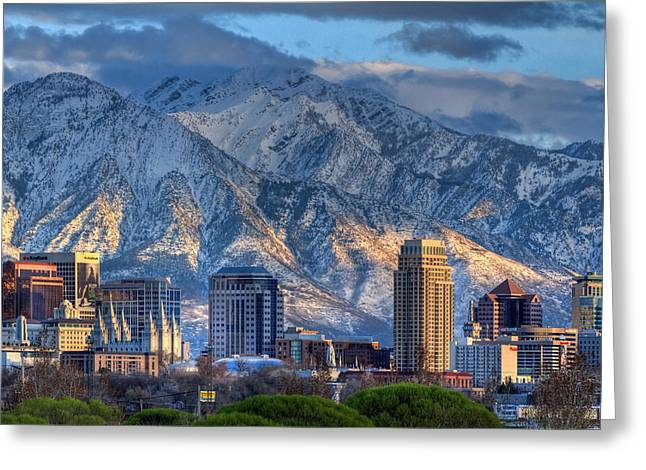 Snowy Night Night Greeting Cards - Salt Lake City Utah USA Greeting Card by Utah Images