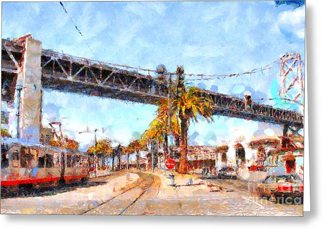 Big Basin Greeting Cards - San Francisco Bay Bridge at The Embarcadero . 7D7706 Greeting Card by Wingsdomain Art and Photography