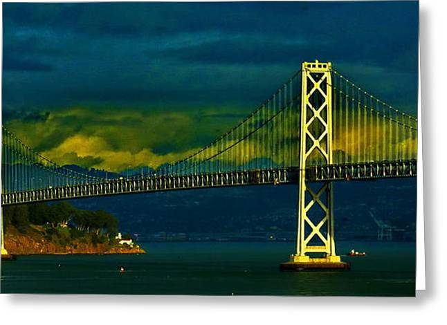 Bay Bridge Greeting Cards - San Francisco Bay Bridge Greeting Card by Russ Harris
