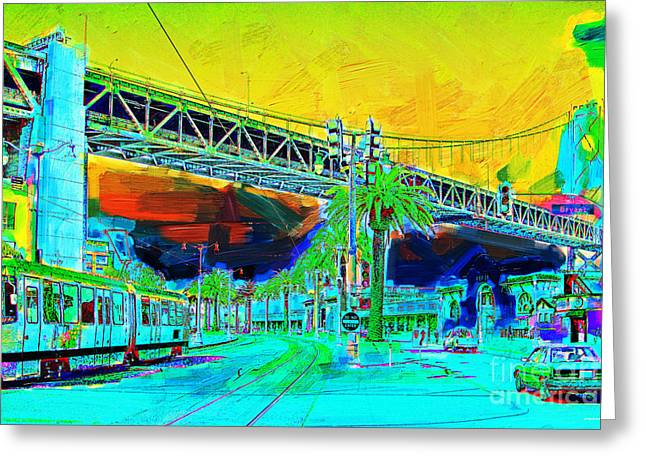 Big Basin Greeting Cards - San Francisco Embarcadero And The Bay Bridge Greeting Card by Wingsdomain Art and Photography