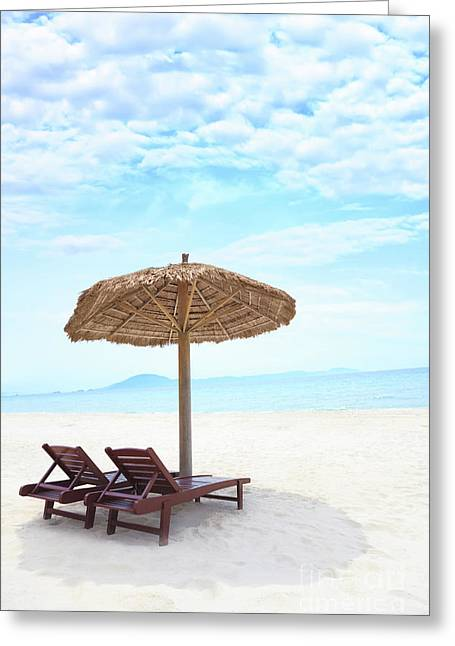 Recliner Greeting Cards - Sandy tropical beach Greeting Card by MotHaiBaPhoto Prints