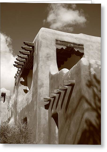 Adobe Greeting Cards - Santa Fe Adobe Building Greeting Card by Frank Romeo
