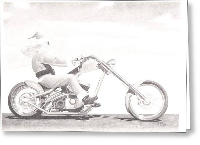 Lanscape Drawings Greeting Cards - Santas Other Ride Greeting Card by Dino Baiza