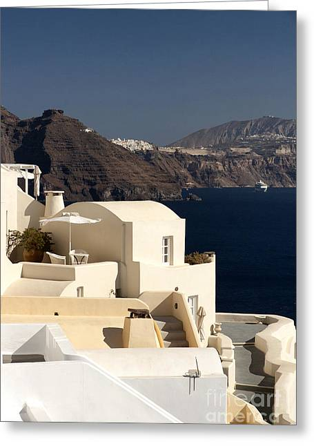 Leda Photography Greeting Cards - Santorini View Greeting Card by Leslie Leda