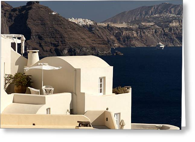 Santorini View Greeting Card by Leslie Leda