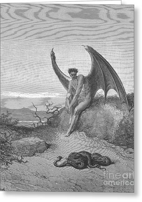 Satan Finding Serpent, By Dore Greeting Card by Photo Researchers