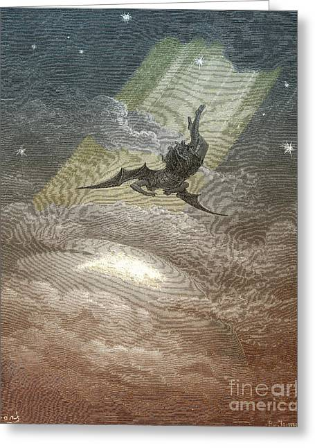 Satan Flying To Earth, By Dore Greeting Card by Photo Researchers