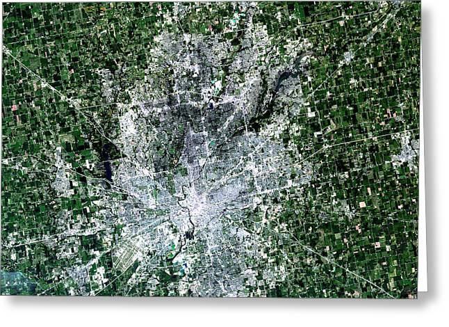 Indiana Photography Greeting Cards - Satellite View Of Indianapolis, Indiana Greeting Card by Stocktrek Images