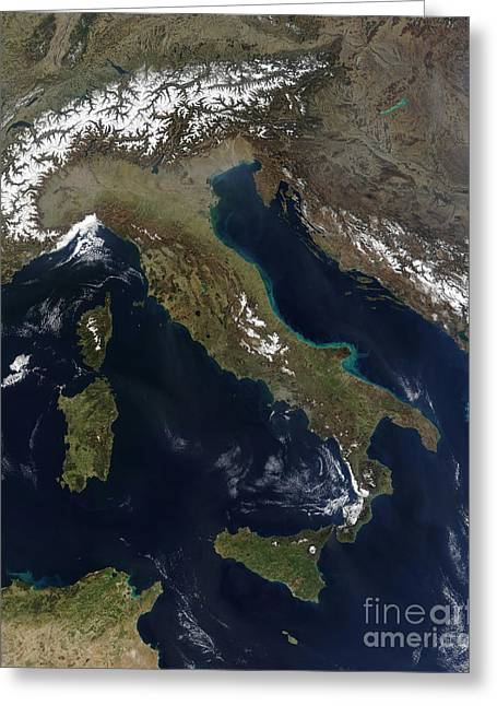 Land Feature Greeting Cards - Satellite View Of Italy Greeting Card by Stocktrek Images