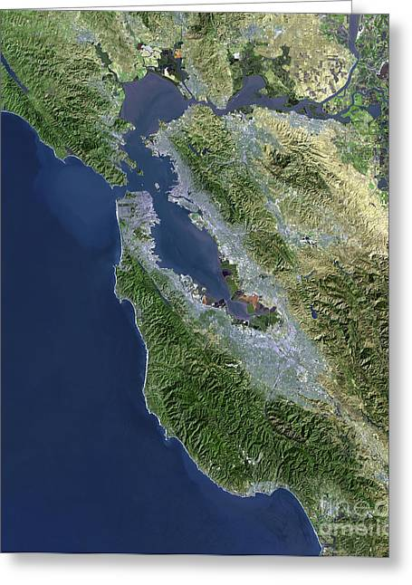 California Ocean Photography Greeting Cards - Satellite View Of San Francisco Greeting Card by Stocktrek Images