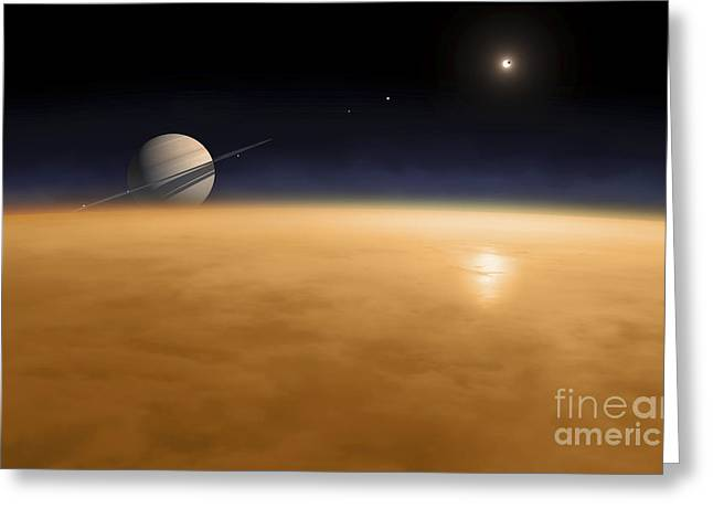 Thick Fog Greeting Cards - Saturn Above The Thick Atmosphere Greeting Card by Fahad Sulehria