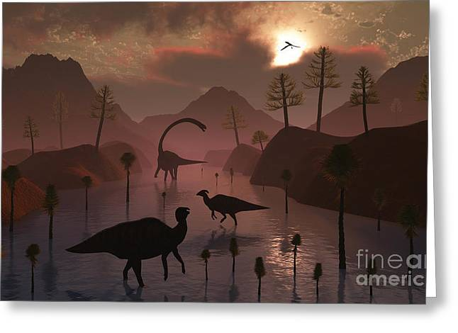 Physical Body Greeting Cards - Sauropod And Duckbill Dinosaurs Feed Greeting Card by Mark Stevenson