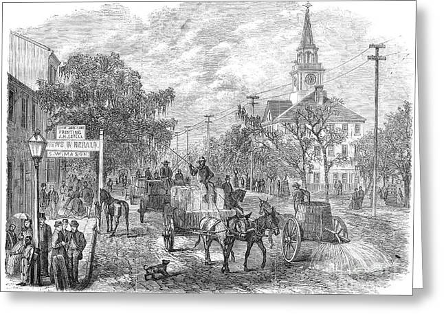 Street Sweeper Greeting Cards - Savannah, Georgia, 1867 Greeting Card by Granger