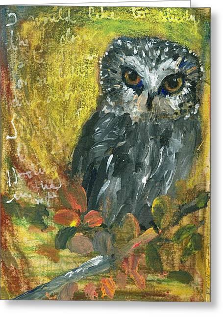 Saw Mixed Media Greeting Cards - Saw-Whet Owl Greeting Card by Sorana Tarmu
