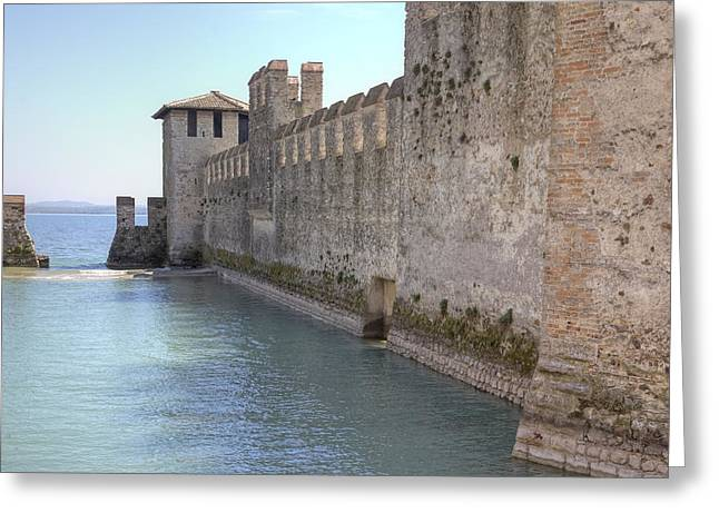 Northern Italy Greeting Cards - Scaliger castle wall of Sirmione in Lake Garda Greeting Card by Joana Kruse