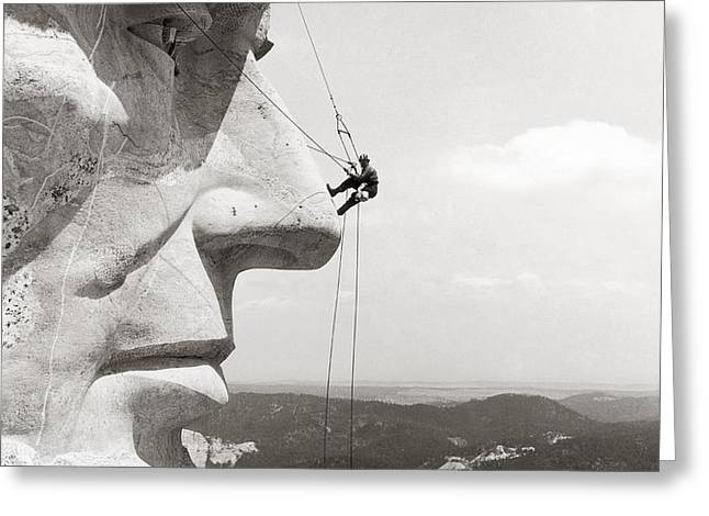 SCALING MOUNT RUSHMORE Greeting Card by Granger