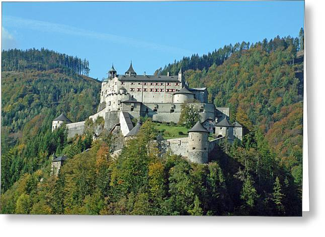 Salzburg Drawings Greeting Cards - Schloss Hohenwerfen Werfen Austria Greeting Card by Joseph Hendrix