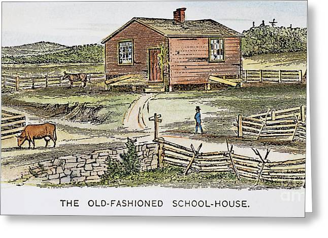 19th Century America Greeting Cards - SCHOOLHOUSE, 19th CENTURY Greeting Card by Granger