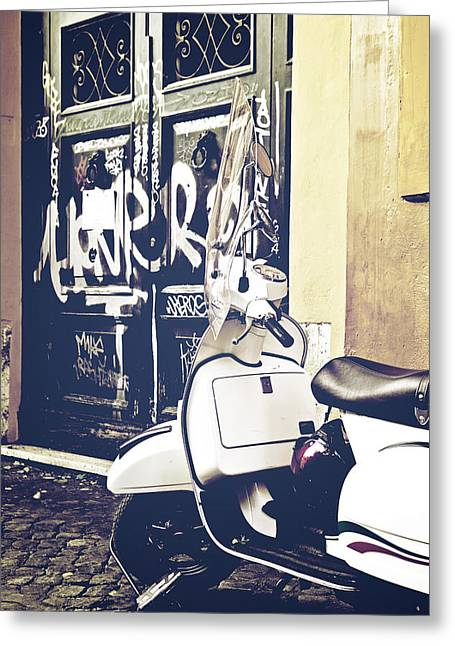 Trastevere Greeting Cards - Scooter Greeting Card by Joana Kruse