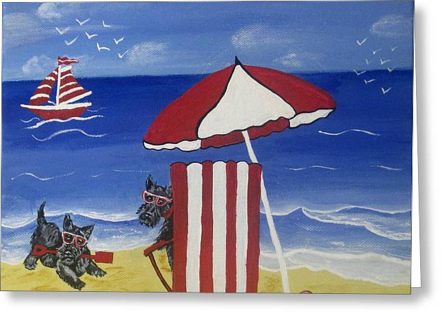 Susan Mclean Gray Greeting Cards - Scotty fun at the Beach Greeting Card by Susan McLean Gray