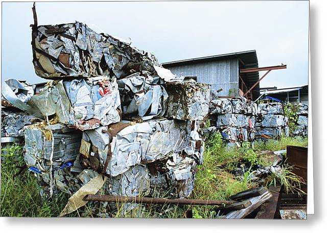Bale Greeting Cards - Scrap Metal Bales Greeting Card by David Nunuk