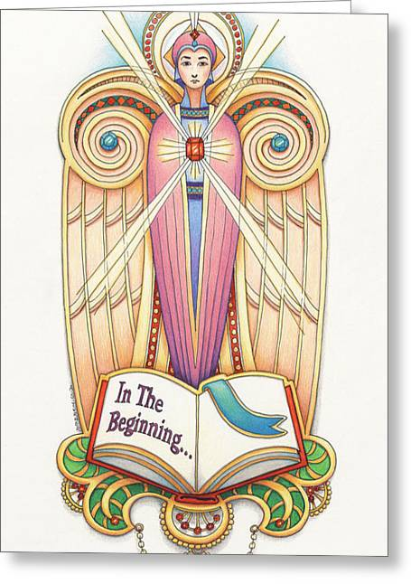 Scroll Angel - Ionica Greeting Card by Amy S Turner