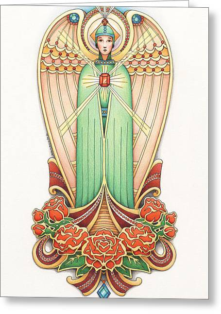 Scroll Angel - Roselind Greeting Card by Amy S Turner