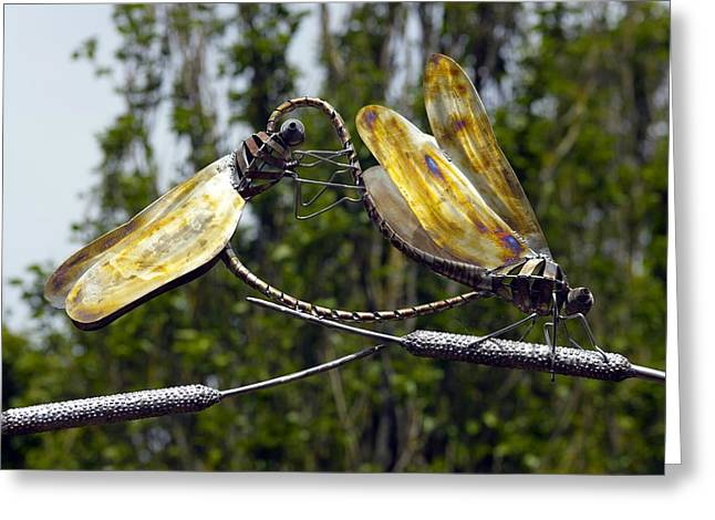 Metal Dragonfly Greeting Cards - Sculpture Of Two Dragonflies Greeting Card by Dr Keith Wheeler
