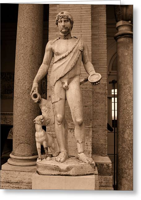 Nudes Sculptures Greeting Cards - Sculpture Vatican Museum Rome Italy Greeting Card by Wayne Higgs