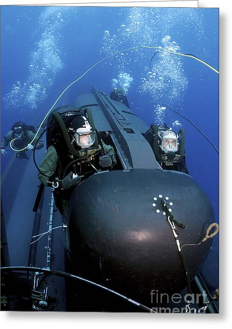 Swimmers Greeting Cards - Seal Delivery Vehicle Team Members Greeting Card by Stocktrek Images