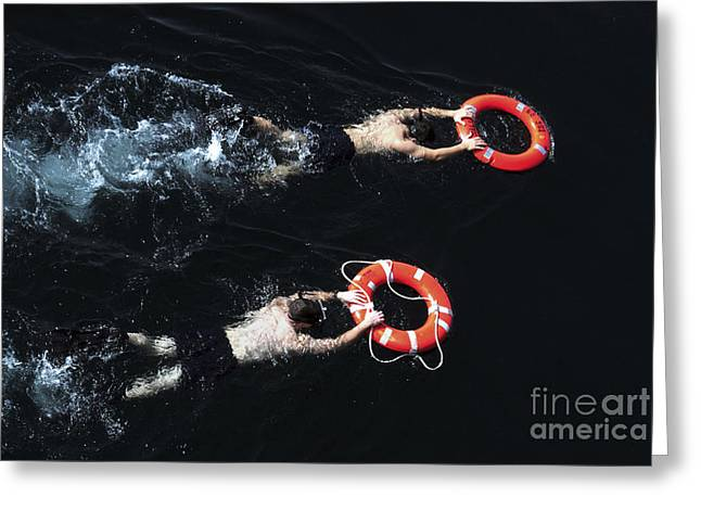 Search And Rescue Swimmers Greeting Card by Stocktrek Images