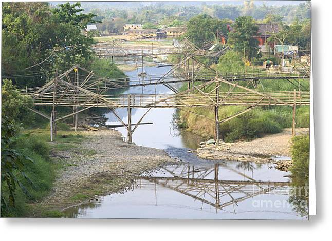 Best Sellers -  - Bamboo House Greeting Cards - Seasonal footbridges in Vang Vieng  Greeting Card by Roberto Morgenthaler
