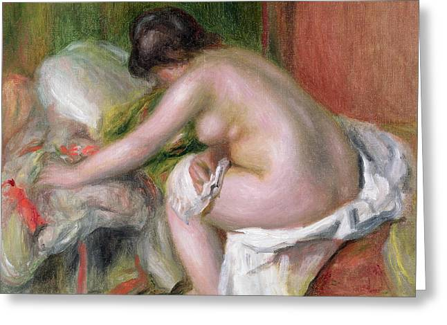 Odalisque Greeting Cards - Seated Bather Greeting Card by Pierre Auguste Renoir