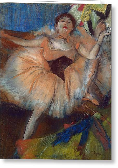 Dancers (pastel) By Edgar Degas (1834-1917) Greeting Cards - Seated Dancer Greeting Card by Edgar Degas
