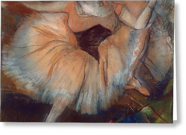 Seated Dancer Greeting Card by Edgar Degas