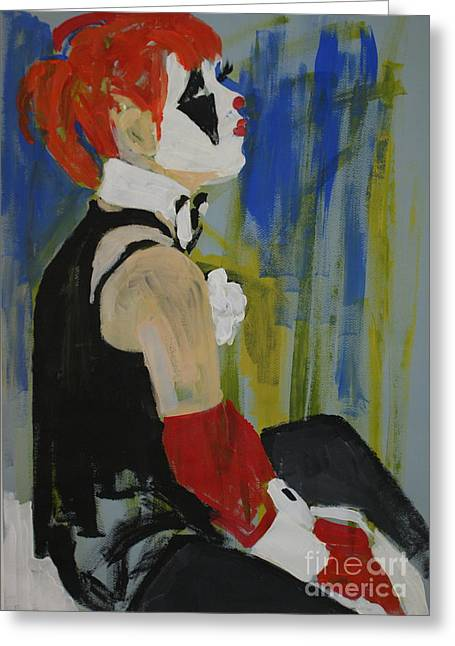 Seated Lady Clown Greeting Card by Joanne Claxton