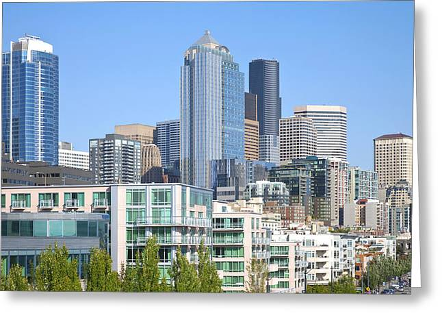 Alaskan Architecture Greeting Cards - Seattle architecture. Greeting Card by Gino Rigucci