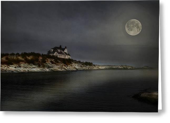 Moon Beach Greeting Cards - Seaview Moon Greeting Card by Robin-lee Vieira