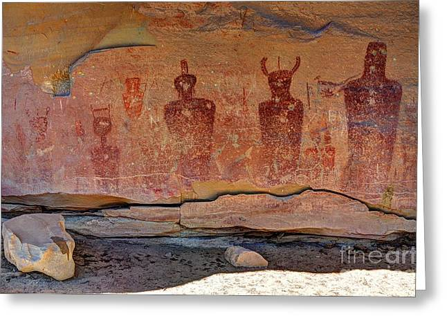 Pictograph Greeting Cards - Sego Canyon Indian Petroglyphs and Pictographs Greeting Card by Gary Whitton