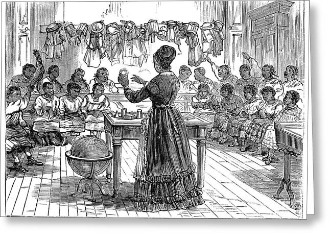 SEGREGATED SCHOOL, 1870 Greeting Card by Granger
