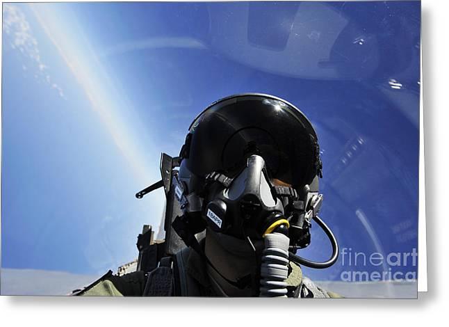 Self-portrait Photographs Greeting Cards - Self-portrait Of A Pilot In The Cockpit Greeting Card by Stocktrek Images